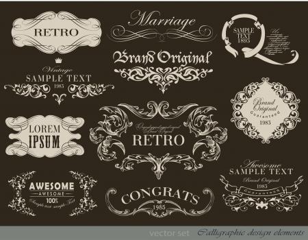 Vintage  borders and other elements calligraphic collection Ilustração