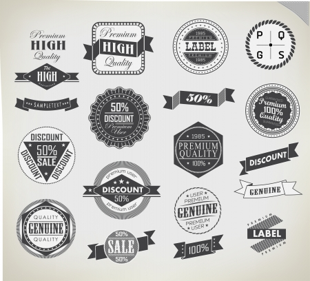 Premium Quality, Guarantee and sale Labels typography design Vector