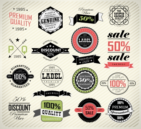 Set of vintage retro premium quality badge and label and typography Vector
