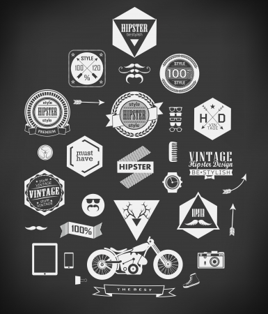 Hipster style elements, icons and labels Banco de Imagens - 23761692