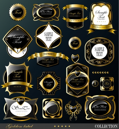 Retro black gold label/can be used for invitation, congratulation or website layout vector Vettoriali