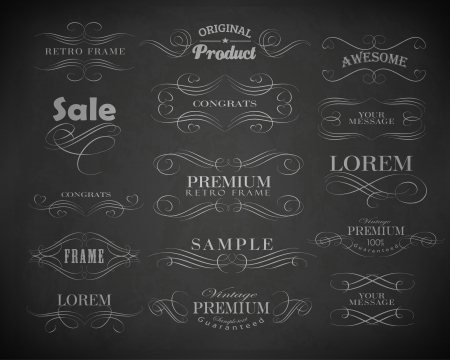 Chalk  typography, calligraphic design elements, page decoration and labels of drawing with chalk on blackboard Vector