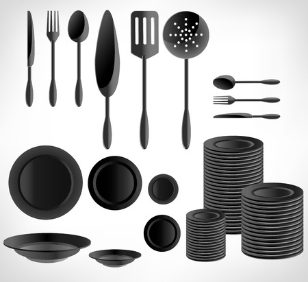 pot holder: Kitchenware set, white ware