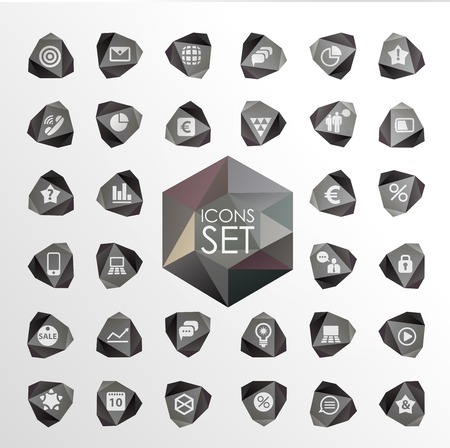 Vector polygonal modern icons. Set of elements Vector