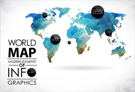정보 그래픽의 현대적인 요소입니다. 세계지도와 타이포그래피