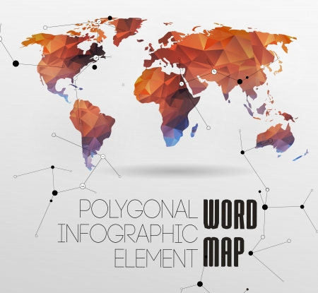 old time: Modern elements of info graphics. World Map and typography