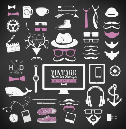 Hipster style elements, icon and object can be used for  retro vintage  website, info-graphics, banner Vector