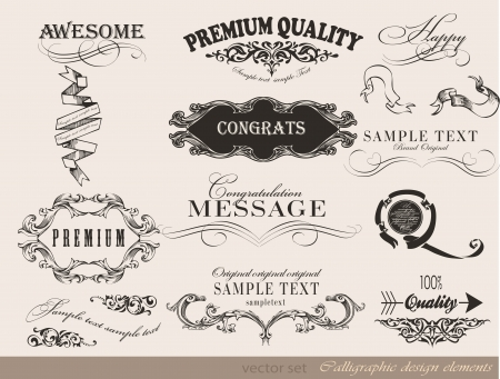 Old style frames and labels Vector