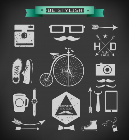 Hipster style elements, icons and labels can be used for  retro vintage  website Vector