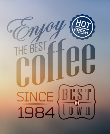 Premium quality coffee collection typography on blur background Stock Vector - 23827346