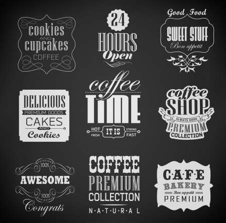 bakery labels and typography, coffee shop, cafe, menu design elements, chalk calligraphic drawing with chalk on blackboard Vector