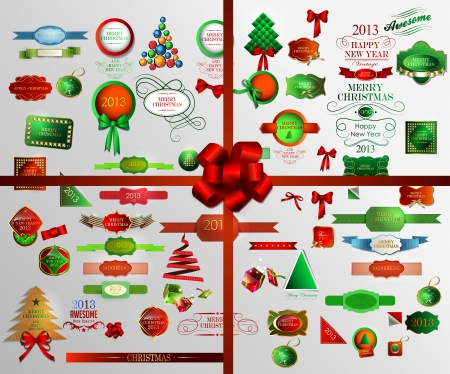 Christmas icons set and elements .Vector illustration Vector