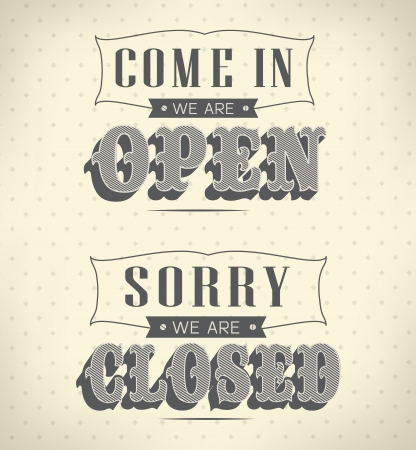 business sign: retro open and closed business sign Illustration