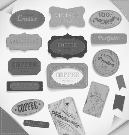 paper textures: vector retro ribbon and vintage label, old dirty paper textures . Elements for design.