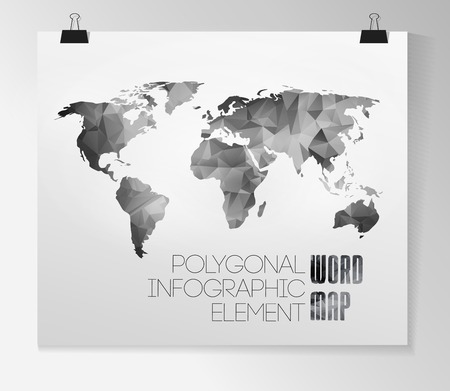 World map background in polygonal style. Vector background Banco de Imagens - 23827794