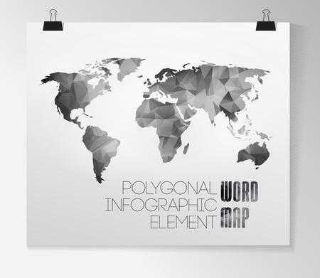 World map background in polygonal style. Vector background Reklamní fotografie - 23827794