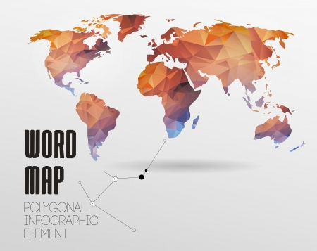 world  hexagon: World map background in polygonal style. Vector background