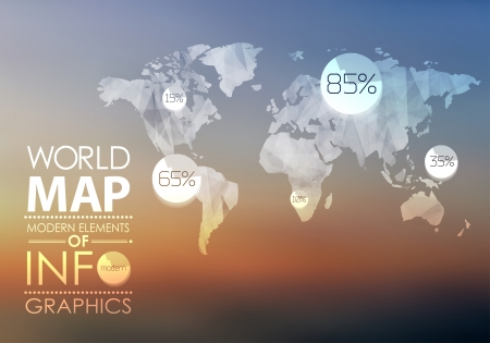 World map in polygonal style on blur background . Vector background
