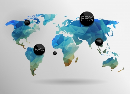 beeswax: World map background in polygonal style. Vector background
