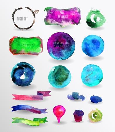 watercolor design elements, background, label, bubble, ribbon