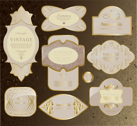 retro vintage set of white gold label and ribbon vector set Vector