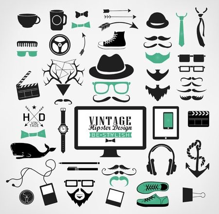 antique fashion: Hipster style elements, icon and object can be used for  retro vintage  website, info-graphics, banner