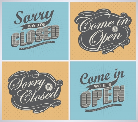 facia: Open and Closed Vintage retro signs typography design drawing with chalk on blackboard Illustration