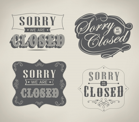 stiker: Open and Closed Vintage retro signs typography design drawing with chalk on blackboard Illustration