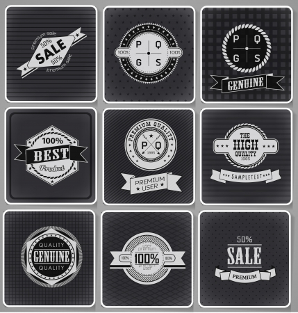 customer sign: Premium Quality, Guarantee and sale Labels  and typography design drawing with chalk on blackboard