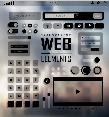 Vector plat transparent Web, mobile Elements, icons. Buttons and Labels, blur background Vector