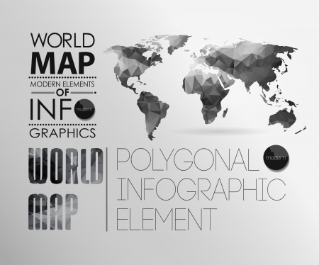 navigation map: Polygonal World Map and Information Graphics. World Map and typography