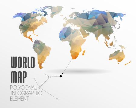 Veelhoekige World Map and Information Graphics. World Map en typografie