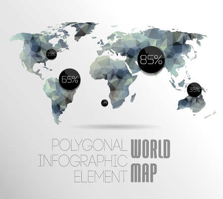 network map: Polygonal World Map and Information Graphics. World Map and typography