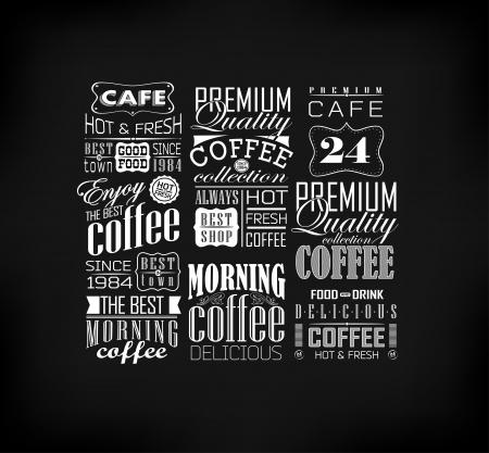 レトロなコーヒー ラベルとタイポグラフィの背景。コーヒーの装飾のコレクション  イラスト・ベクター素材