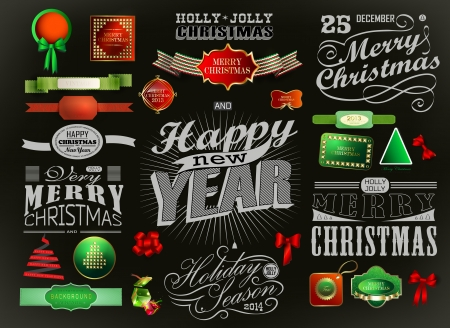 Merry Christmas greeting card with calligraphy elements. Vector set Vector