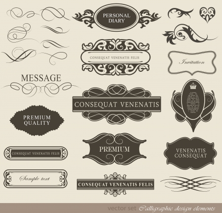 vintage document: calligraphic design elements and page decoration