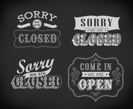 stiker: Closed Vintage retro signs typography design Stock Photo