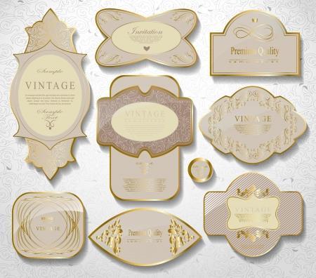 Retro  gold framed label. Premium design elements Old style frame