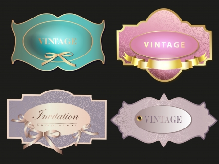 Set of retro labelsgreeting card, with bow for design photo