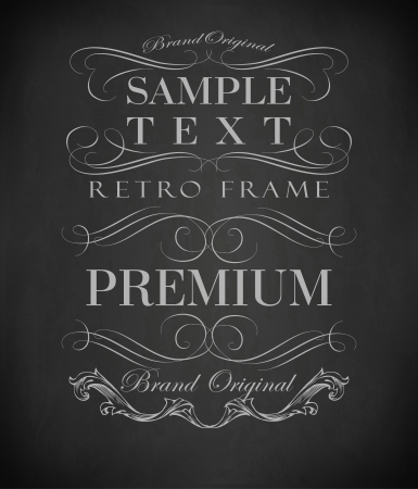 page decoration: Chalk  typography, calligraphic design elements, page decoration and labels of drawing with chalk on blackboard