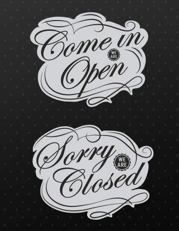 stiker: Closed Vintage retro signs typography design Stock Photo