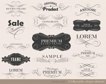 bordes decorativos: elementos de diseño caligráfico Foto de archivo