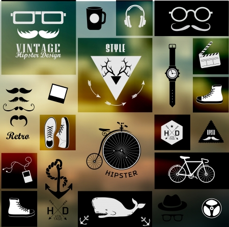Hipster style info graphic element and icon . Vector illustration .Blur, shadows background Vector