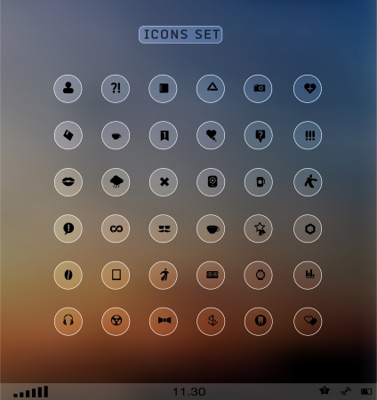 Set of web plat icons on blur background Vector