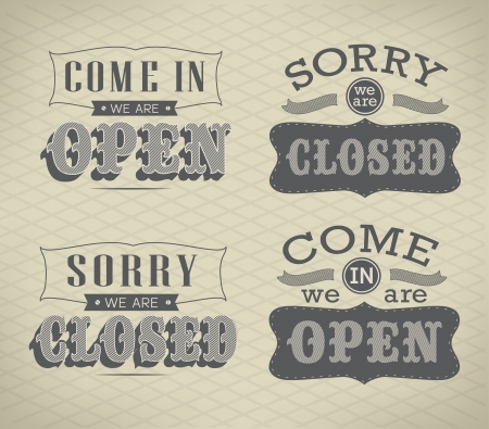 Retro signs Open and Closed. Vector illustration. Vector