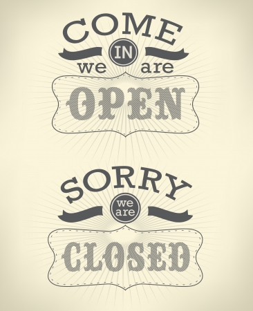 retro open and closed business sign Vector