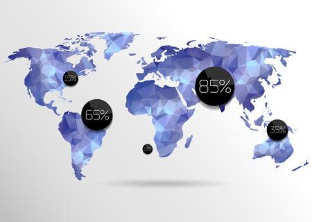 Wereld kaart achtergrond in veelhoekige stijl. Vector achtergrond