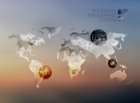 World map in polygonal style on blur background . Vector background Vector