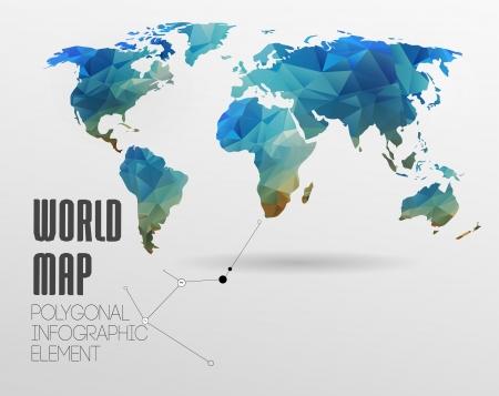 多角形の世界地図および情報グラフィック。世界地図とタイポグラフィ