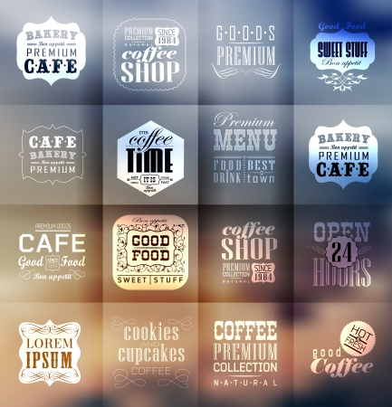 design elements: Retro bakery labels and typography. Blur, shadows background. Coffee shop, cafe, menu design elements, calligraphic Illustration